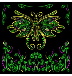 Bright butterfly with futuristic flower decor on vector image vector image