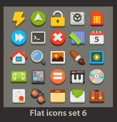 flat icon-set 6 vector image