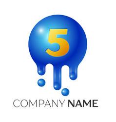 number five splash logo blue dots and bubbles vector image