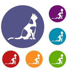 sitting cat icons set vector image