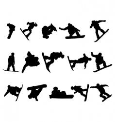 snowboarde man silhouette set vector image