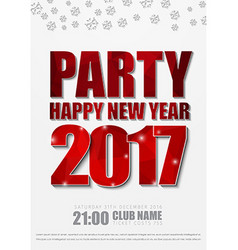white poster design for New Years party in 2017 vector image vector image