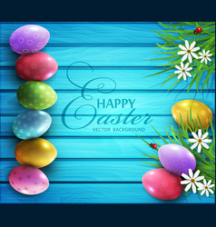 colored eggs flowers daisies vector image