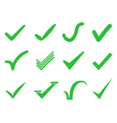 green check mark icons set vector image vector image