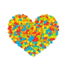Heart of colored confetti isolated on white vector image