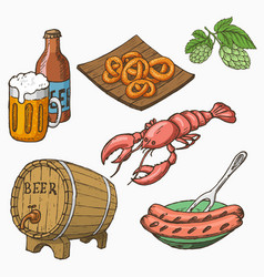 sketch style set of beer and snacks vector image vector image