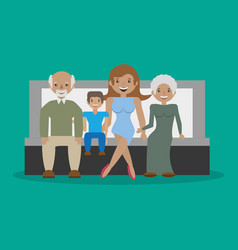 family - grandparents with mom son sitting sofa vector image vector image