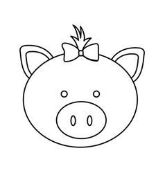figure face pig ribbon bow head icon vector image