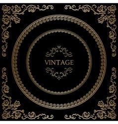 Gold frame on black vector image