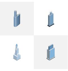 Isometric skyscraper set of urban building vector