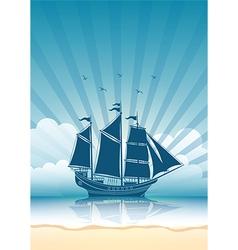 Sail ship background vector image