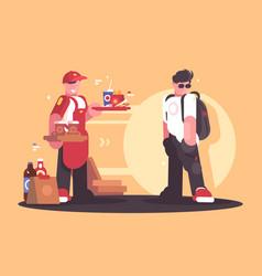 seller of fastfood in uniform vector image
