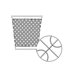 trash sign black dotted icon vector image vector image