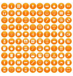100 information icons set orange vector