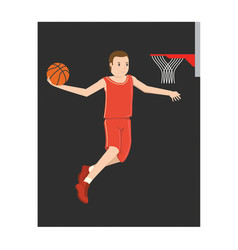 A young basketball player jumping vector