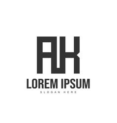 ak logo template design initial letter logo design vector image