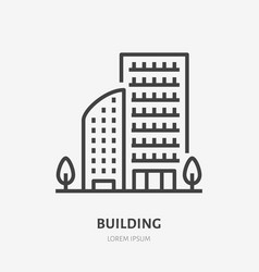 apartment building flat line icon thin vector image