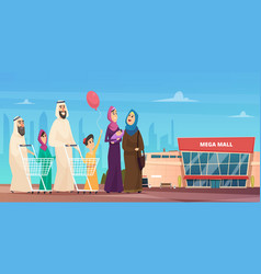 Arabic family shopping muslim happy characters vector
