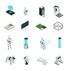 Artificial intelligence isometric icon set vector