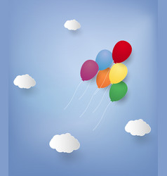balloons flying in the sky paper art style vector image