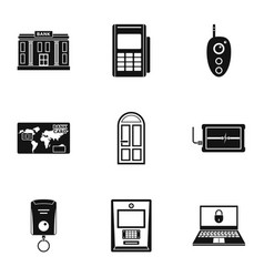 banking room icons set simple style vector image