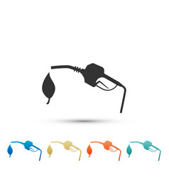 bio fuel concept with fueling nozzle and leaf icon vector image