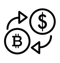 Bitcoin to dollar exchange line icon vector