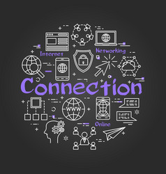 Black round connection concept with line icons vector