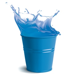 Bucket full of clear water vector image