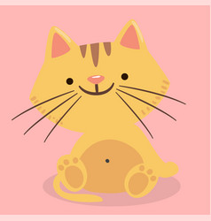 cartoon cat smile pink background image vector image
