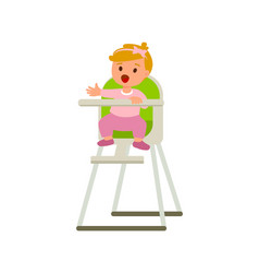 child girl in bahighchair with plate of vector image