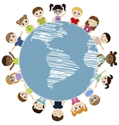 Children around the earth vector