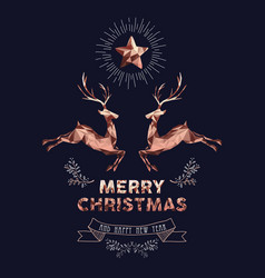 christmas and new year copper low poly deer card vector image