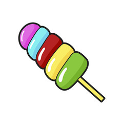 colored lollipop stick yummy rainbow hard candy vector image
