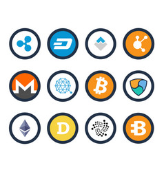 cryptocurrency set icons vector image