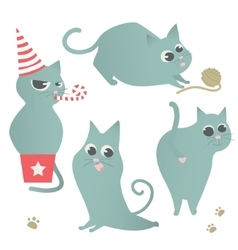 Cute cats set isolated Cat sitting in gift box vector