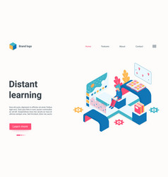 Distance learning technology isometric landing vector