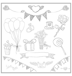 Doodle line love cute Valentines Day card vector