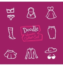 Doodle style women clothes icons set Hand vector