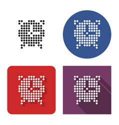 dotted icon alarm clock in four variants with vector image