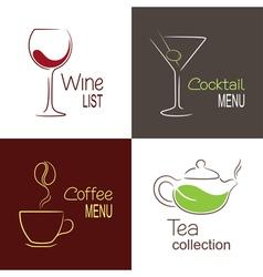 Drinks menu icons vector image