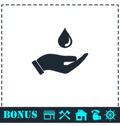 Drop icon flat vector