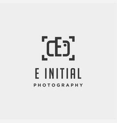 e initial photography logo template design vector image