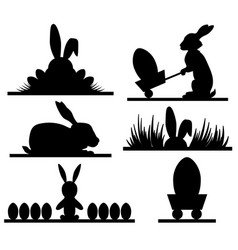 easter silhouettes design with banny and eggs vector image