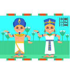 egyptian man and woman in dancing action pharaoh vector image