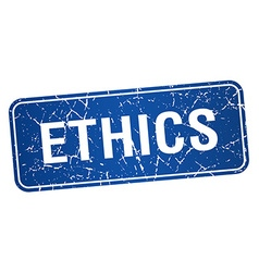 Ethics blue square grunge textured isolated stamp vector