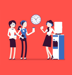 Female office cooler chat vector