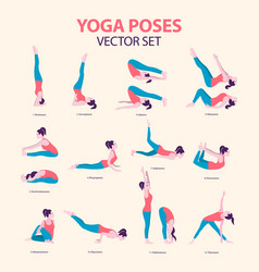 female yoga icon set in flat style vector image