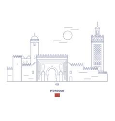 Fes city skyline vector