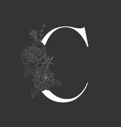 Floral alphabet and serif letter vector